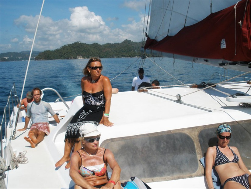 Catamaran Sailing Tour in Samana Bay Dominican Republic.