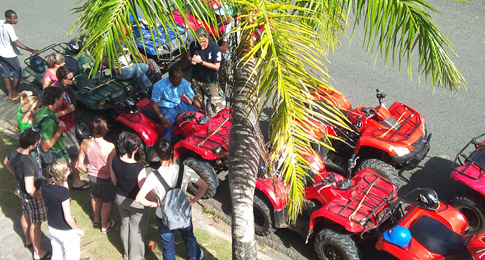 ATV Tours in Samana - Melvin Moya from Tauro Tour & Green Cape Adventures in Samana doing a Safety Briefing before going on ATV Excursion to Playa Rincon beach in Samana Dominican Republic.
